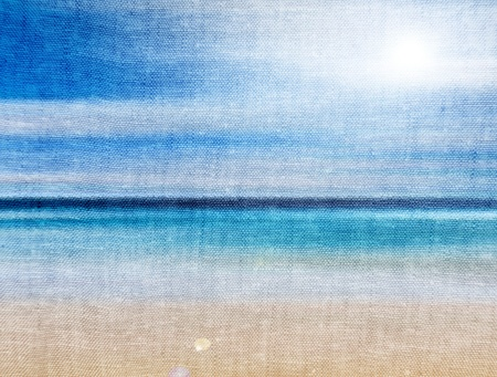 untouched: Draw of beach on canvas. Sky and sunlight, abstract illustration