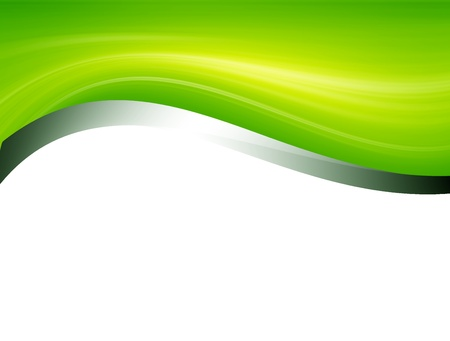clean energy: Green and chrome waves over white background