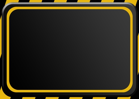 Black and yellow caution advertisement. Empty to insert text or design photo