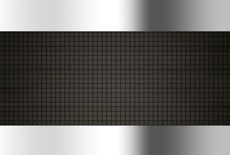 aluminium wallpaper: Black texture with chrome borders, Background illustration
