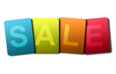 inexpensive: Blue, green, orange and red sale advertisement on white background Stock Photo