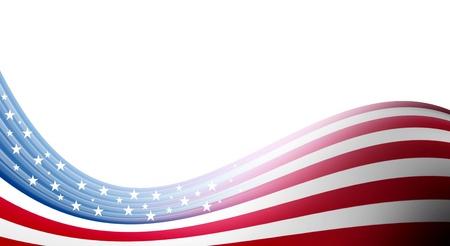 lineas onduladas: Olas de bandera de Estados Unidos sobre fondo blanco. Ilustraci�n