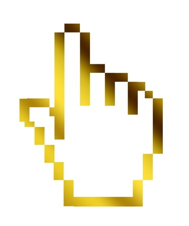 Gold computern hand mouse on white background photo