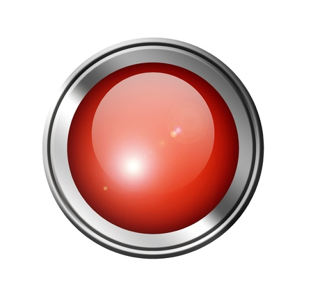 Red button with chrome frame over white background. Stock Photo - 9693433