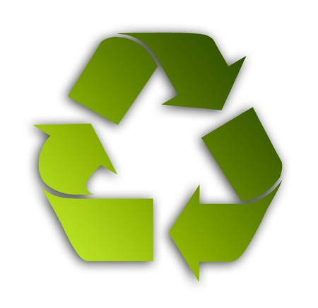 Green recycle symbol over white background. Illustration Stock Illustration - 9693169