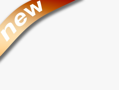 New orange advertisement ribbon over blank background, Space to insert text or design Stock Photo - 9693099