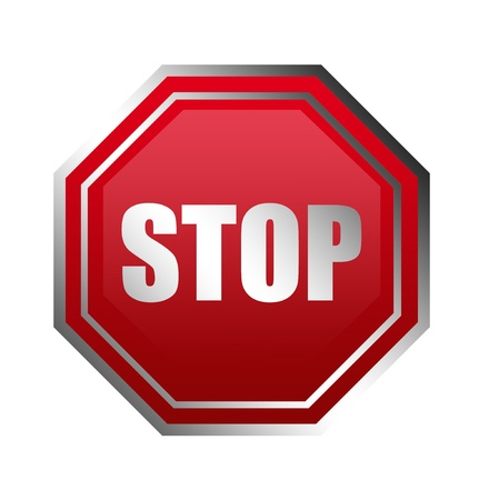 Red stop signal with chrome frame over white background photo