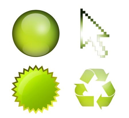 simbol: Sfera, il puntatore del mouse, etichetta e simbolo di riciclare, elementi verdi, illustrazioni isolate Archivio Fotografico
