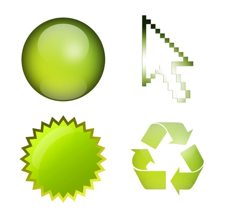 Sphere, mouse pointer, label, and recycle symbol, green elements, isolated illustrations Stock Illustration - 9693154
