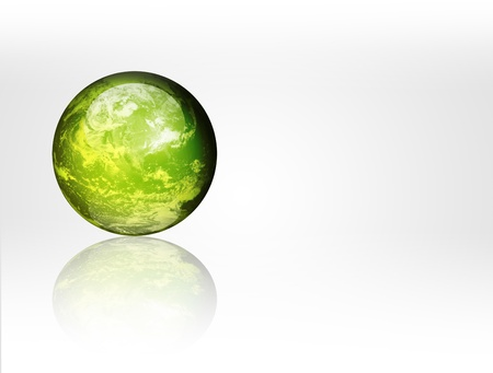 Green planet with reflection on white background Stock Photo - 9693729