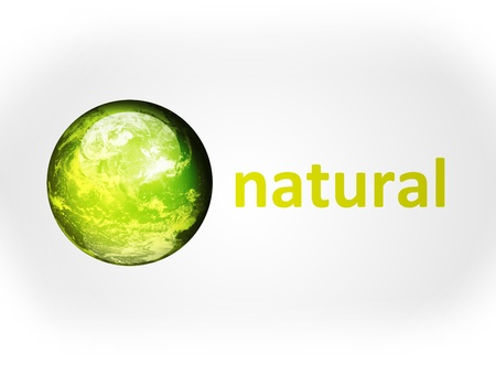 Green planet with natural advertisement on gray background Stock Photo - 9693694