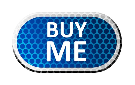 Buy me blue button over white background photo