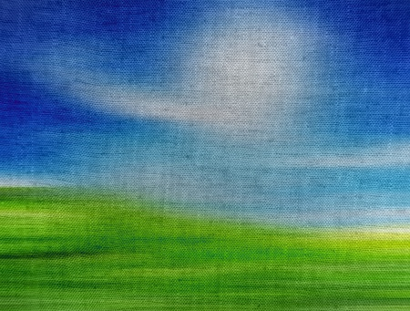 Blue and green landscape painted on canvas Stock Photo - 9696804