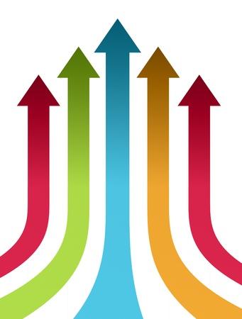 flecha direccion: Rojo, verde, azul y naranja hasta flechas sobre fondo blanco