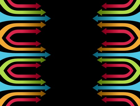 Blue, orange green and red arrows over black background Stock Photo - 9693537