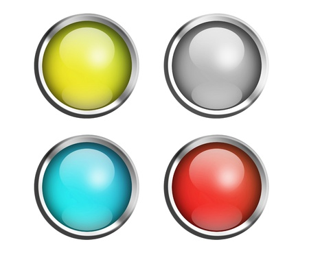 Collection of four glossy buttons in various colors:illustration Stock Illustration - 9693578