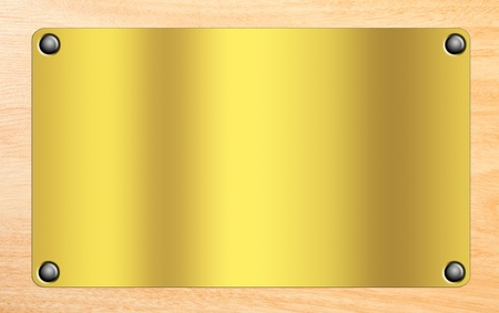 wooden insert: Golden plate on wooden background.Space to insert tex o design. Illustration Stock Photo