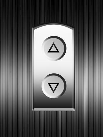 Elevator buttons over chrome background. Illustration  illustration