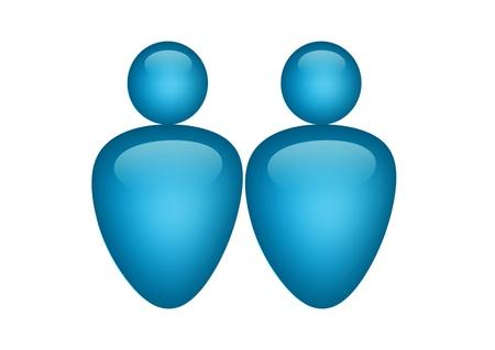 blue couple illustration on white background, isolated image Stock Illustration - 9693129