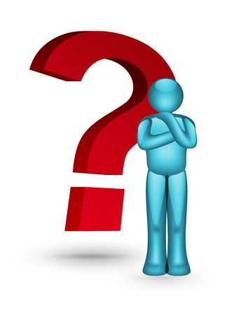 Red question symbol with blue icon of person, White background. Concepts: Solutions and service Stock Photo - 9693159