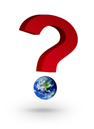 Red symbol question with planet point. Isolated illustration. Stock Illustration - 9693348