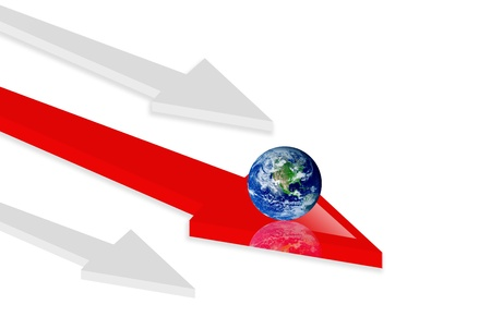 Red and gray arrow on white background. 3d illustration, Concepts:  world and movement Stock Illustration - 9693238