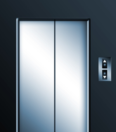 Elevator door on black background. Chrome illustration illustration