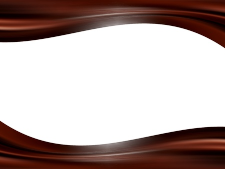 Chocolate waves over white background. Empty to insert text or design