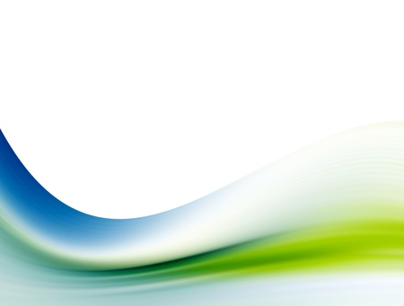 blue gradient background: Green and blue wave over white background. Abstract and dynamic design Stock Photo