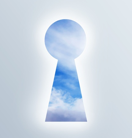 keyholes: keyhole showing the sky open.Illustration