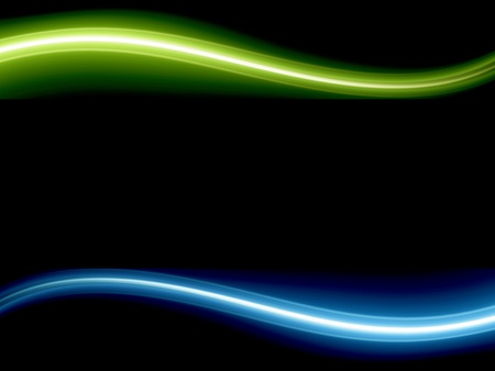 light beams: Blue and green dynamic wave over black background. Illustration Stock Photo