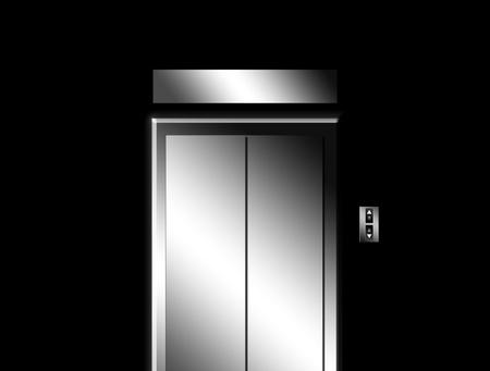 Chrome door elevator on black wall. Illustration illustration