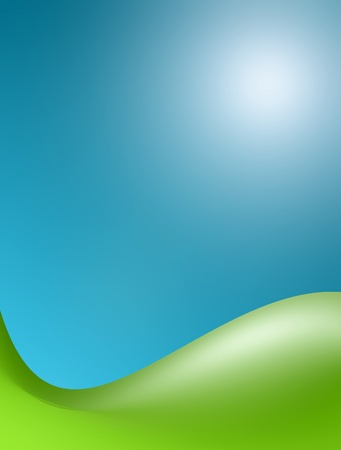 Green wave over blue background. Mountain and sky Stock Photo - 9693175
