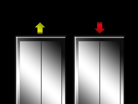 Elevator with green and red arrows, up and down concept Stock Photo - 9693403