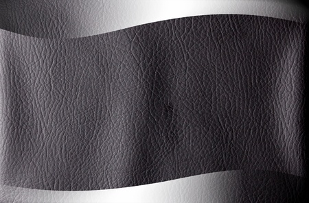 Black leather texture with chrome frame. Space to insert text or design Stock Photo - 9694173