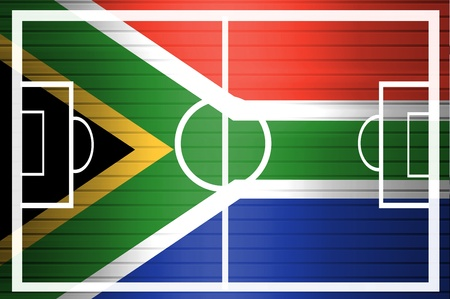 South African flag. 2010 soccer world cup. With field photo