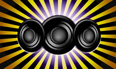 Yellow and black impact lines with speakers illustrations Stock Illustration - 9694122