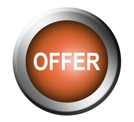 Orange offer button with chrome frame. Isolated image Stock Photo - 9693412