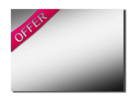 Purple offer ribbon on chrome sheet. Business illustration Stock Illustration - 9693338