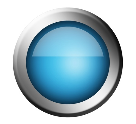 Blue button with chrome frame. Isolated illustration illustration