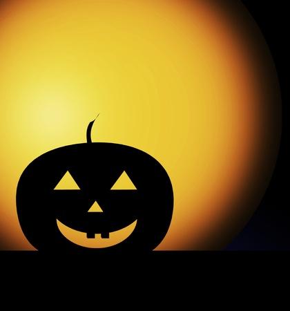 Pumpkin silhouette over orange background, halloween illustration illustration