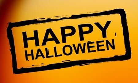 Black happy halloween stamp over orange background Stock Photo - 9693569