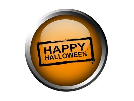 Happy halloween stamp on orange button, chrome frame, isolated image photo