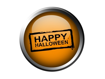 Happy halloween stamp on orange button, chrome frame, isolated image photo