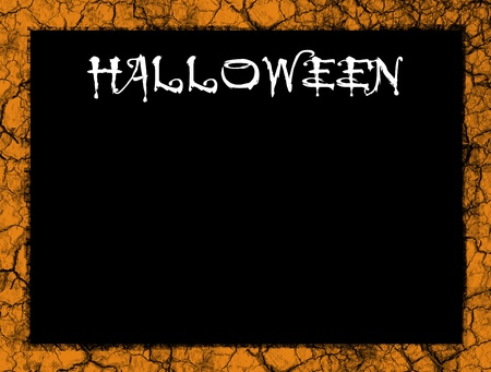 Black halloween background with orange vintage frame, space to insert text or design Stock Photo - 9694164