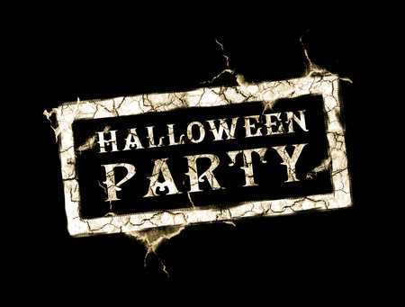 halloween party: Halloween party stamp over black background. Vintage illustration Stock Photo