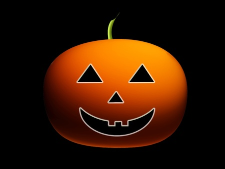 Orange pumpkin over black background, halloween illustration illustration