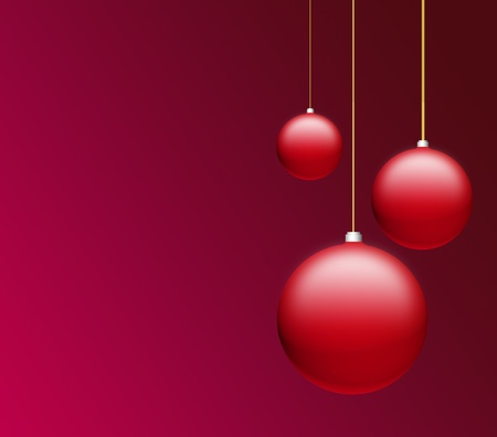 Christmas balls over red background, space to insert text or design Stock Photo - 9693738
