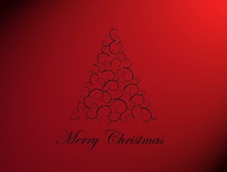 Merry chrsitmas tree on red background, Xmas card Stock Photo - 9693597