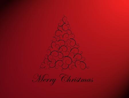 Merry chrsitmas tree on red background, Xmas card Stock Photo - 9693597